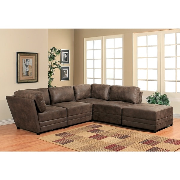 abbyson victoria 5 piece antique brown fabric modular sectional free