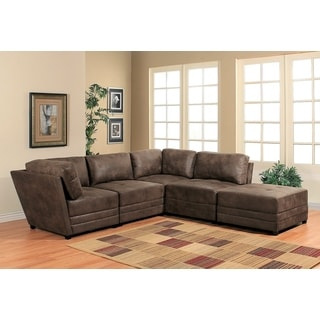Abbyson Victoria 5 Piece Antique Brown Fabric Modular Sectional