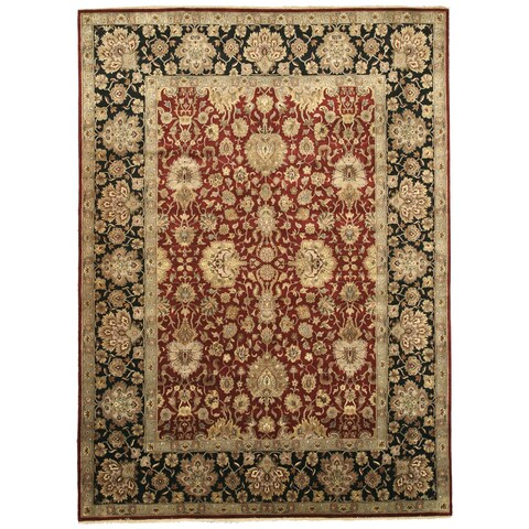 "Hand-knotted Wool Red Traditional Oriental Jaipur Rug - 8'11"" x 12'4"""