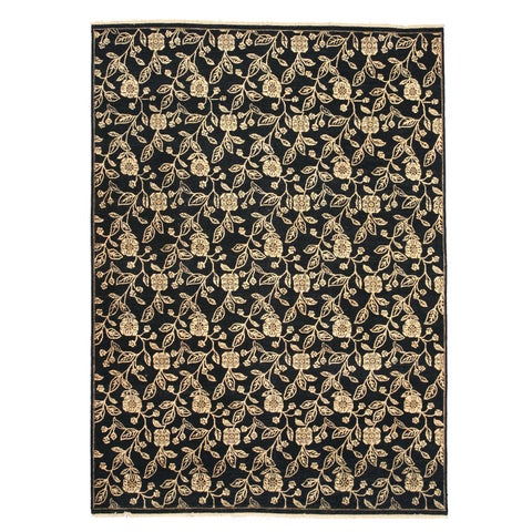 """Hand-knotted Wool Black Traditional Oriental Agra Rug - 8'10"""" x 12'2"""""""