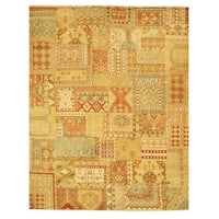Hand-knotted Wool Southwestern/Tribal Oriental Patch Rug (9'3 x 11'9) - 9'3 x 11'9