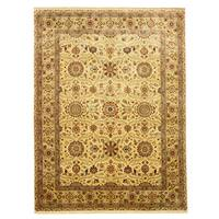 Hand-knotted New Zealand Wool Ivory Traditional Oriental Tabriz Rug - 9' x 12'