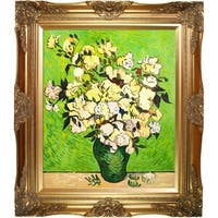 Vincent Van Gogh 'Vase with Roses' Hand Painted Framed Canvas Art
