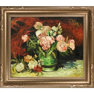 Vincent Van Gogh 'Bowl with Peonies and Roses' Hand Painted Framed Canvas Art