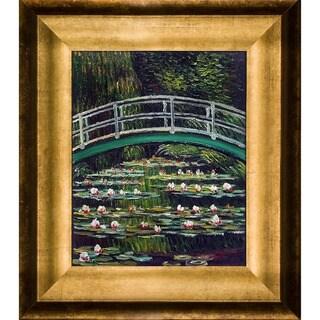 Claude Monet 'The Japanese Bridge' Hand Painted Framed Canvas Art
