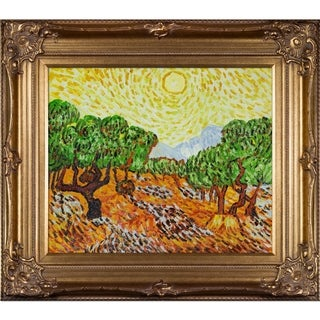 Vincent Van Gogh 'Olive Trees with Yellow Sun and Sky' Hand Painted Framed Canvas Art