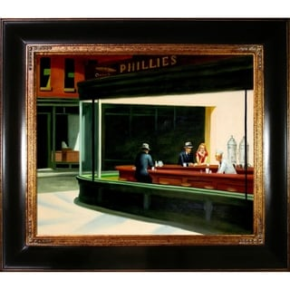 Edward Hopper 'Night Hawks' Hand Painted Framed Canvas Art
