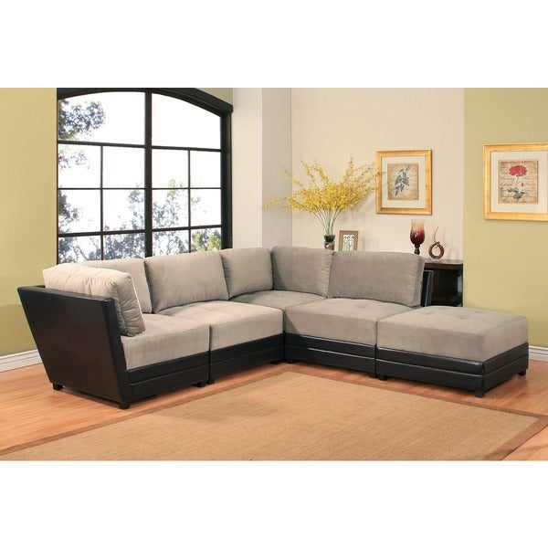 Abbyson Victoria 5 Piece Two Tone Fabric Leather Modular Sectional Sofa