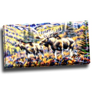 Design Art 'Moose in the Forest' 32x16-inch Canvas Art Print