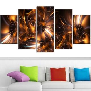 Design Art 'Silver and Gold Stars' Canvas Art Print - 60x32 - 5 Panels Diamond Shape
