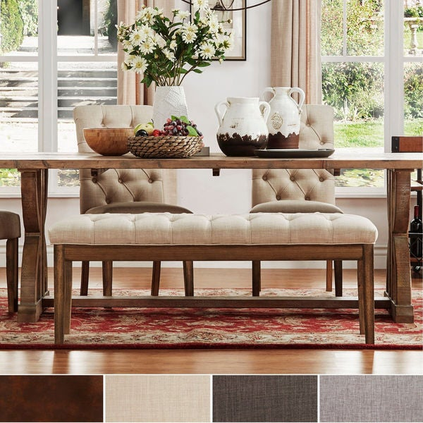 Free Kitchen Tufted Dining Bench With Back Ideas With: Shop Benchwright Premium Tufted Reclaimed 52-inch