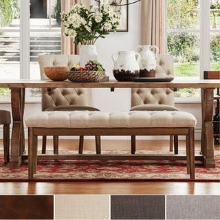 SIGNAL HILLS Benchwright Tufted Reclaimed 52-inch Upholstered Bench
