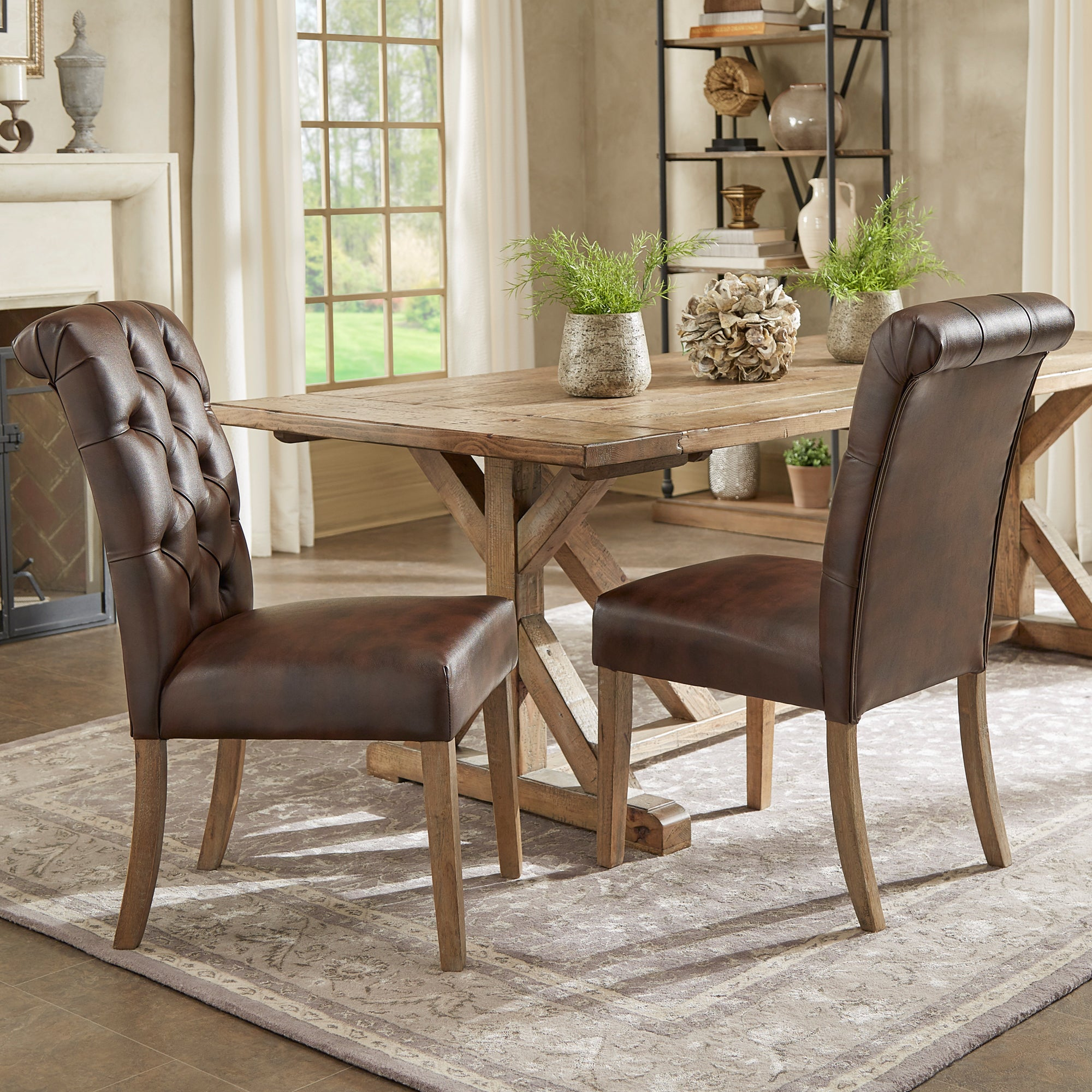 Benchwright Premium Tufted Rolled Back Parsons Chairs Set