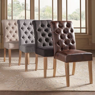SIGNAL HILLS Benchwright Button Tufts Upholstered Rolled Back Parsons Chairs (Set of 2)