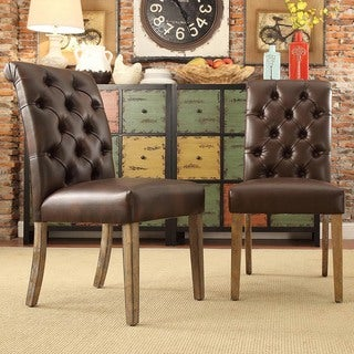 Benchwright Premium Tufted Rolled Back Parsons Chairs (Set of 2) by iNSPIRE Q Artisan (Brown Bonded Leather)