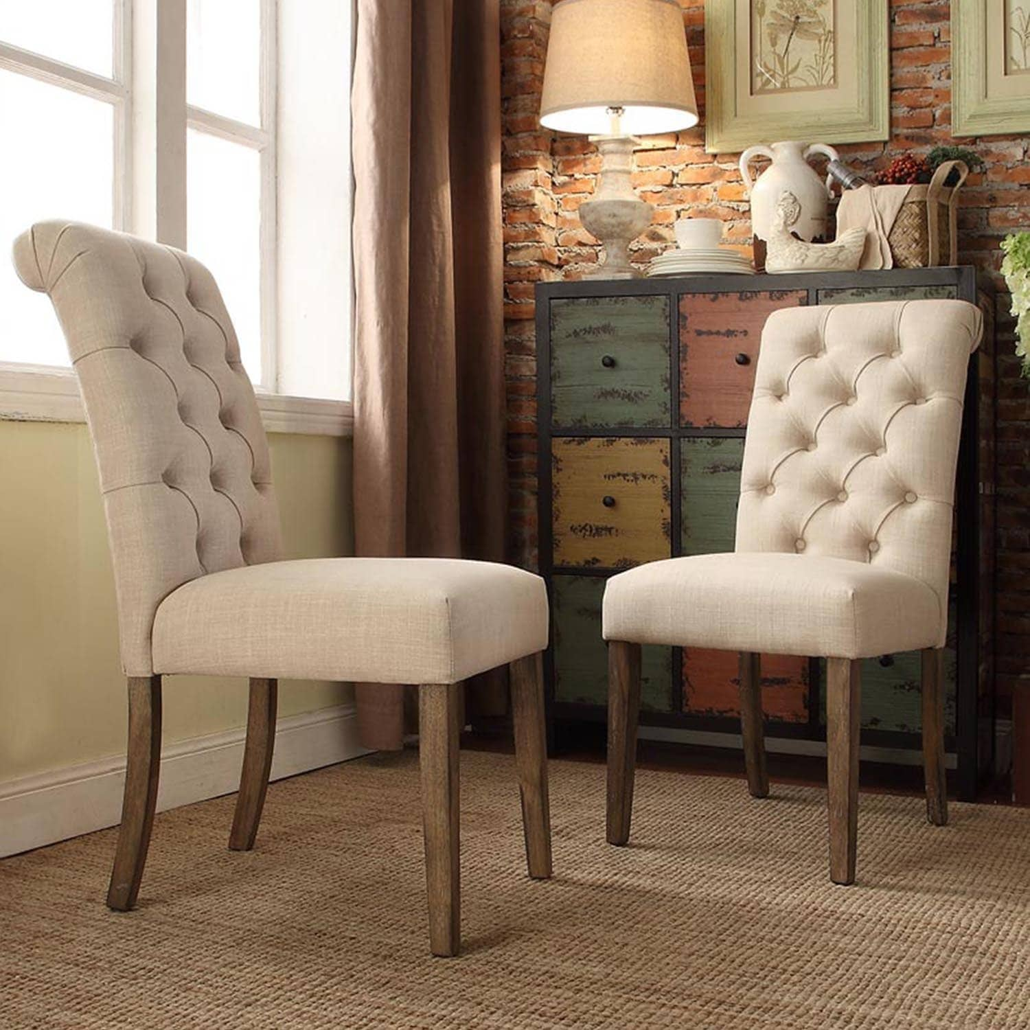 Delightful Benchwright Premium Tufted Rolled Back Parsons Chairs Set