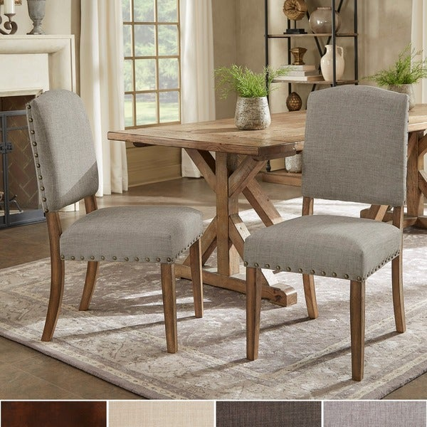 Benchwright nailhead upholstered dining chairs by signal for Dining room head chairs
