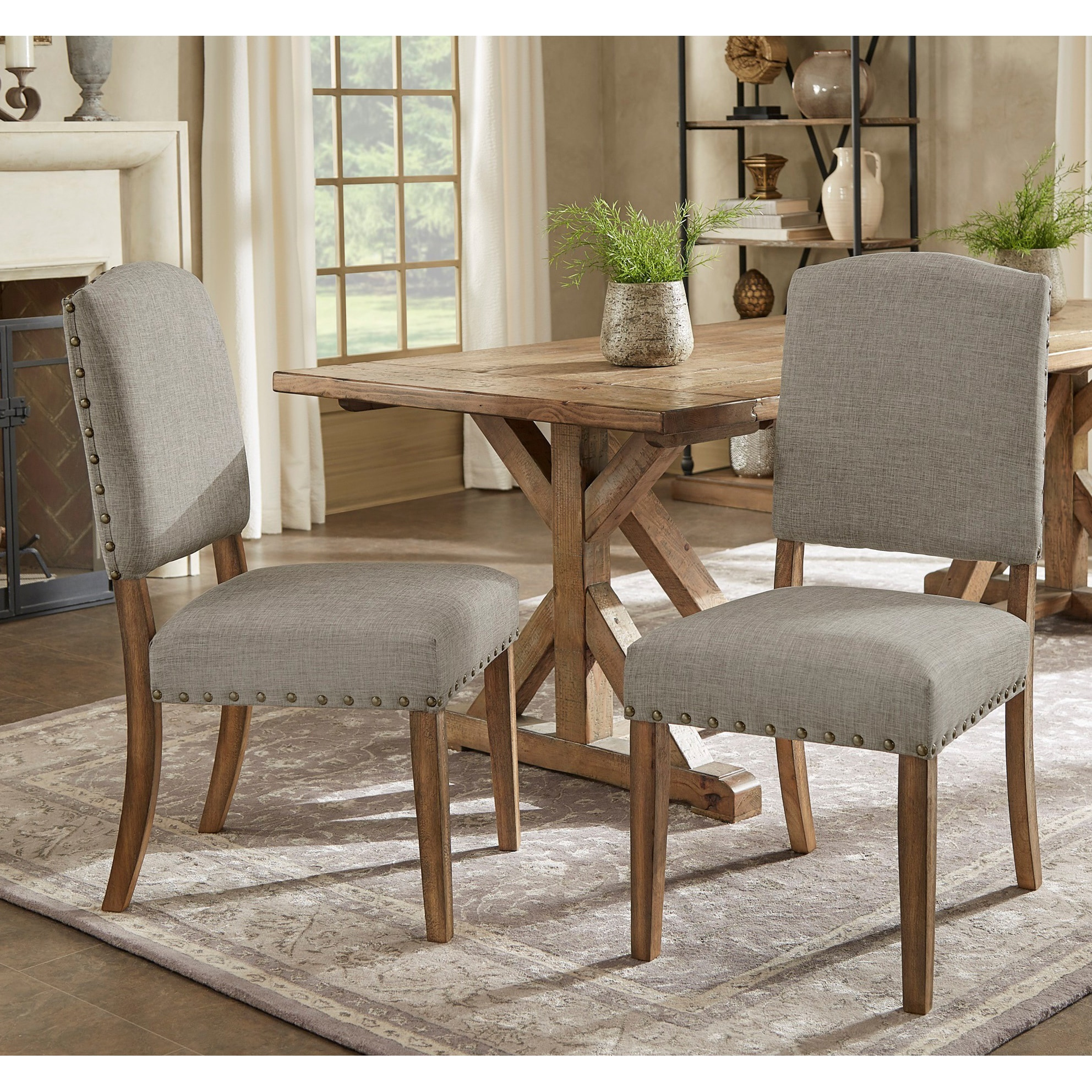 Enjoyable Benchwright Premium Nailhead Upholstered Dining Chairs Set Of 2 By Inspire Q Artisan Gmtry Best Dining Table And Chair Ideas Images Gmtryco