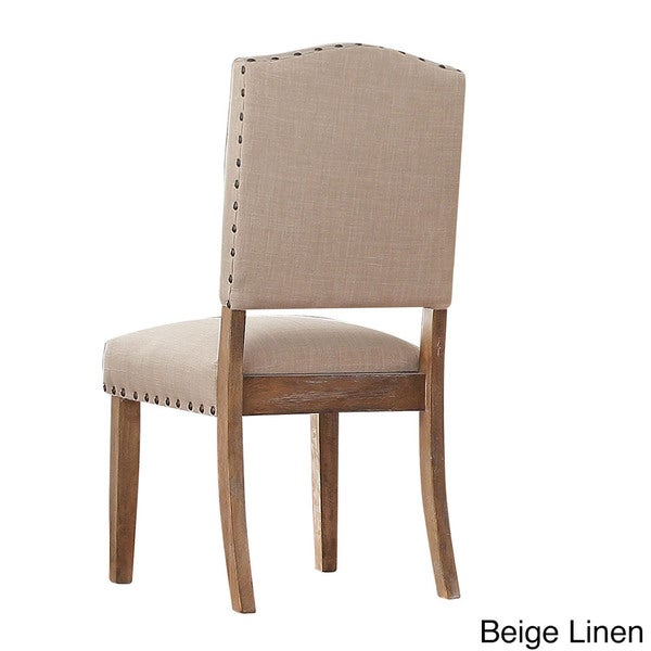 Benchwright Premium Nailhead Upholstered Dining Chairs (Set Of 2) By I Nspire Q Artisan   Beige Linen by I Nspire Q Artisan