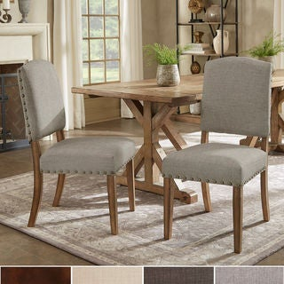 upholstered dining room chairs red benchwright premium nailhead upholstered dining chairs set of 2 by inspire artisan buy natural finish kitchen room online at overstock