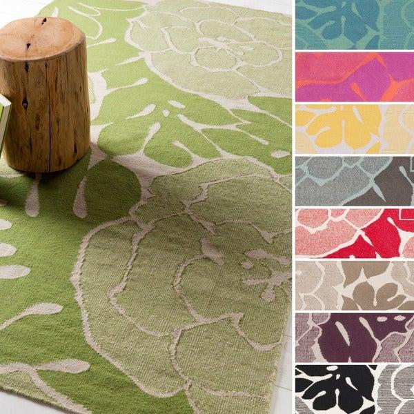 Hand-Woven Alijah Floral Wool Area Rug - 8' x 11'