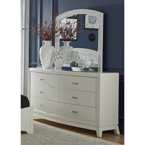 Avalon IIWhite Truffle 6-Drawer Dresser and Mirror Set