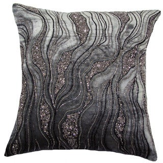Hand Beaded DELTA 18-inch Feather and Down Filled Throw Pillow