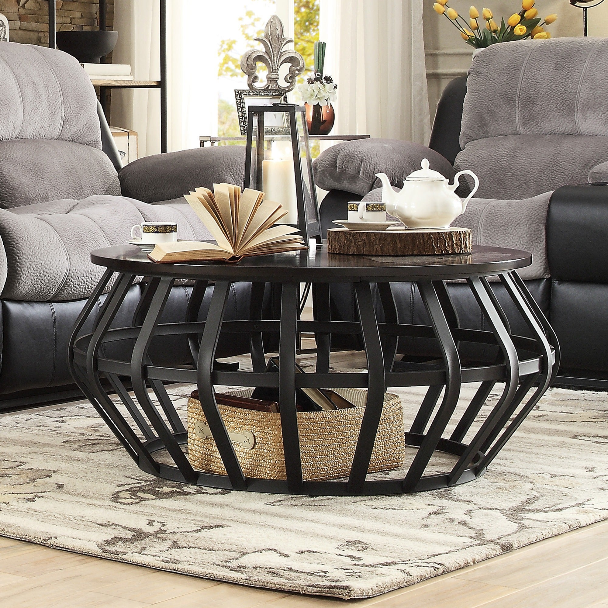 Devon Metal Frame Round Cage Slate Accent Coffee Table by...