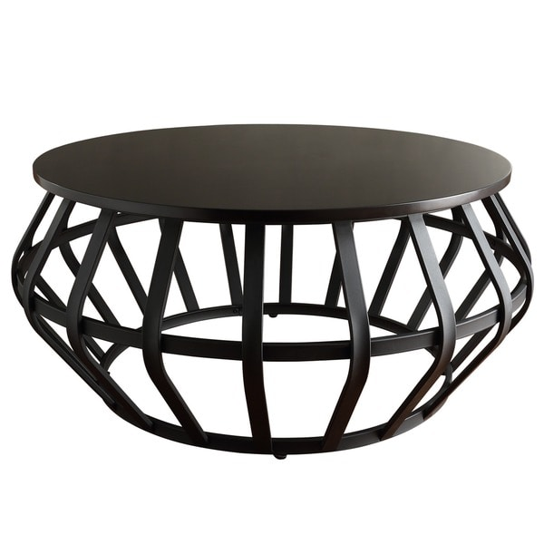 Devon Metal Frame Round Cage Slate Accent Coffee Table by iNSPIRE Q Classic  - Free Shipping Today - Overstock.com - 17126199