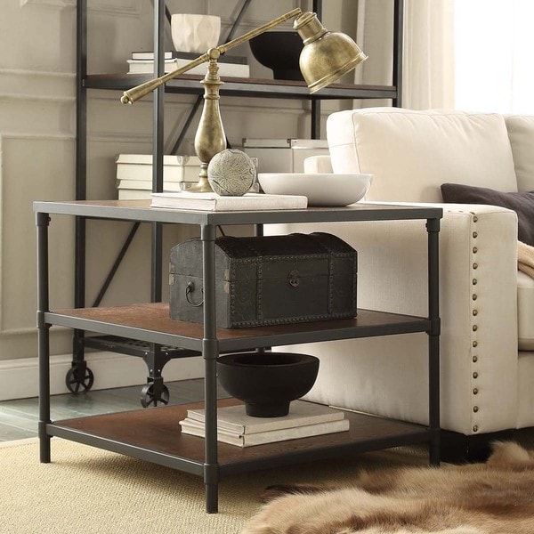 Harrison Industrial Rustic Pipe Frame Accent End Table By INSPIRE Q Classic