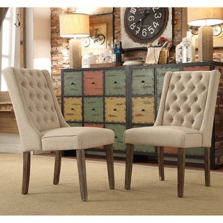 SIGNAL HILLS Evelyn Tufted Wingback Hostess Chairs (Set of 2)