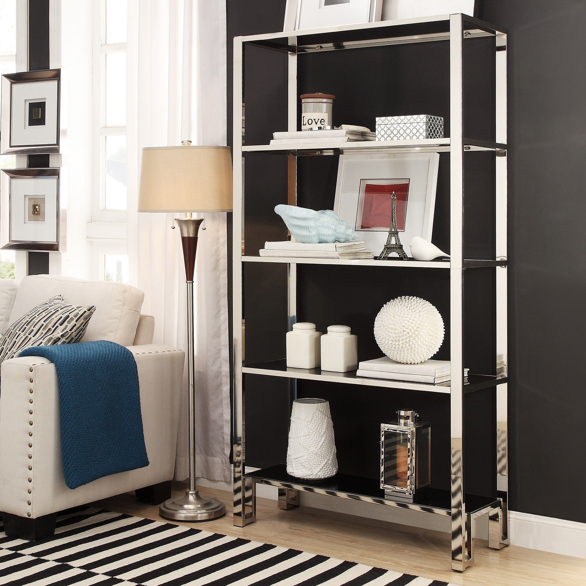 Alta Vista Black And Chrome Metal Single Shelving Bookcase By INSPIRE Q  Bold ...