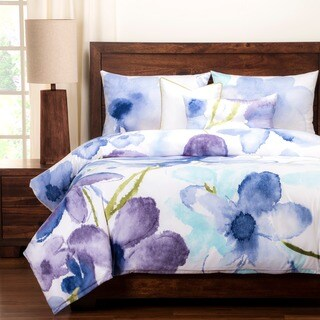 Silver Orchid Powell Painted Petals Luxury 6-piece Duvet Set
