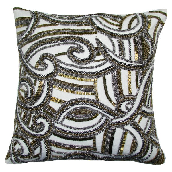 Hand Beaded CHARISMA 18-inch Feather and Down Filled Throw Pillow