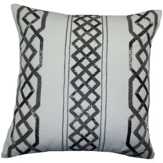 Hand Beaded Tusk 20-inch Feather and Down Filled Throw Pillow