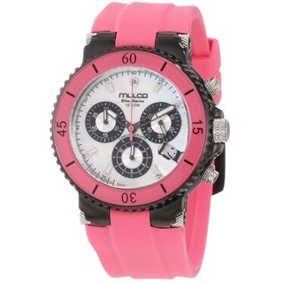 Mulco Women's MW370604088 'Blue Marine' Chronograph Pink Rubber Watch