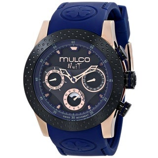 Mulco Women's 'Nuit Mia' Chronograph Blue Rubber Watch