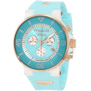 Mulco Women's MW311009053 'Ilusion Ceramic' Chronograph Aqua Rubber Watch