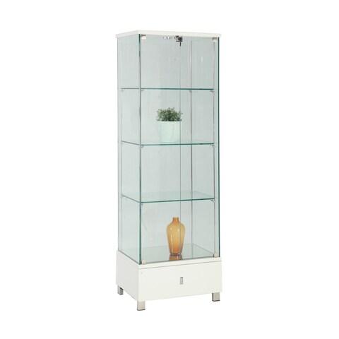 Somette Modern Gloss White Glass Curio