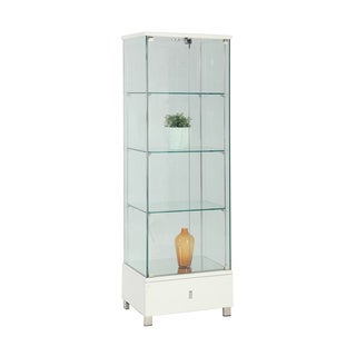 Somette Modern Gloss White Glass Curio