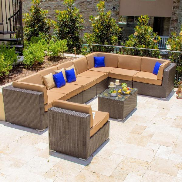 avery island resin wicker patio 8piece sectional set - Resin Wicker Patio Furniture