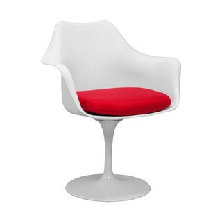 Mod Made Tulip Lily Accent Dining Arm Chair with Red Cushion
