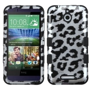 Insten Black/ White Leopard Hard PC/ Silicone Dual Layer Hybrid Rubberized Matte Phone Case Cover For HTC Desire 510