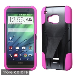 Insten Plain Hard PC/ Silicone Dual Layer Hybrid Phone Case Cover with Stand For HTC One M9