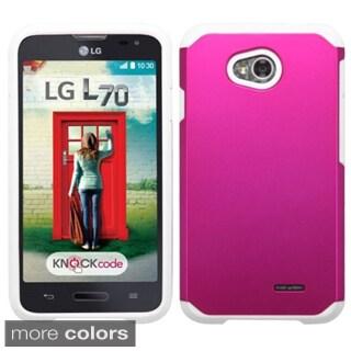 Insten Plain Hard PC/ Silicone Hybrid Phone Case Cover For LG Optimus Exceed 2 VS450PP Verizon/ Optimus L70 MS323/ Realm LS620