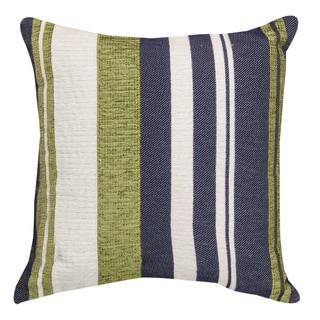 Green/ Blue/ White Striped Throw Pillow