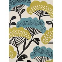 Hand-Tufted Floral Wool Area Rug - 5' x 8'