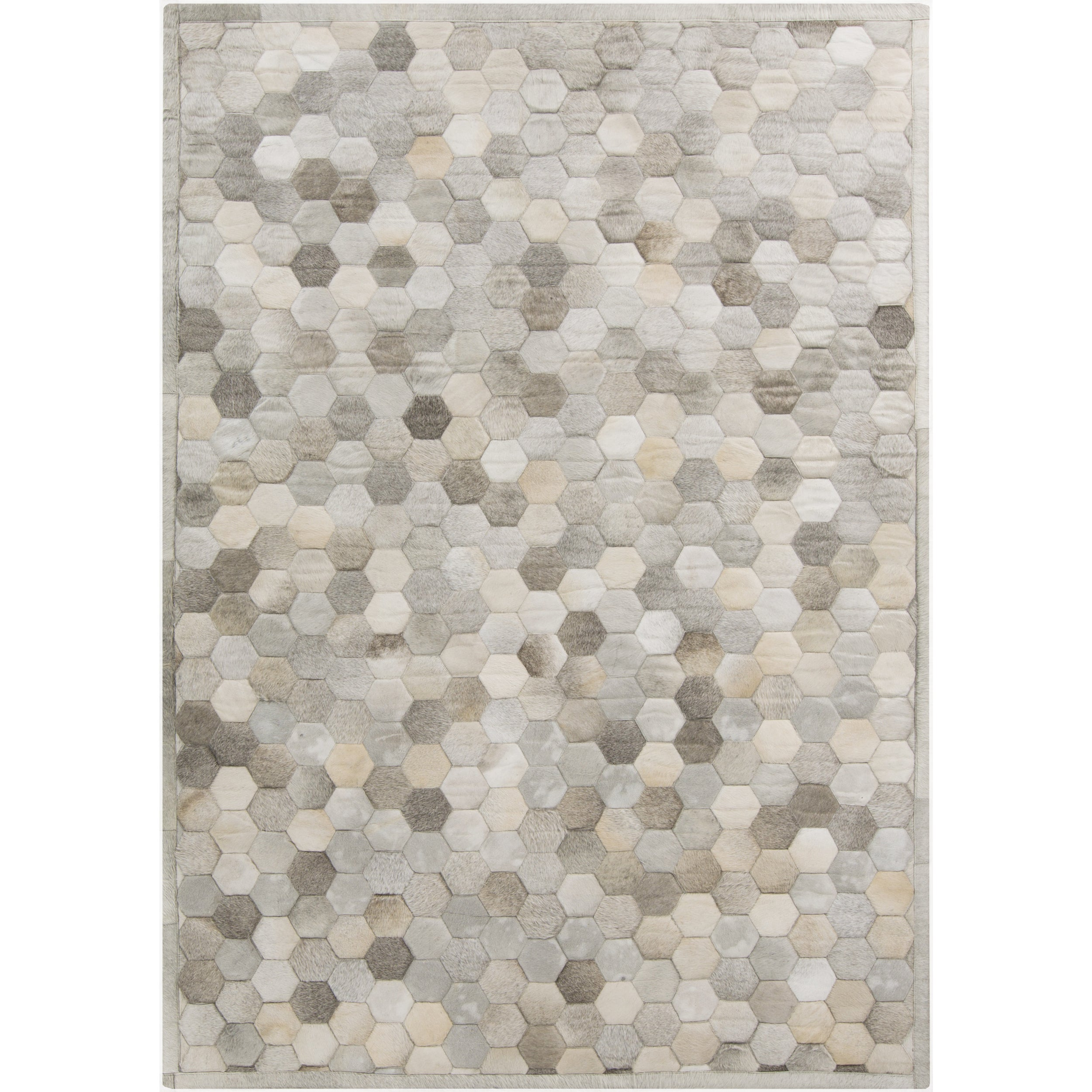 Hand-Crafted Cesar Geometric Hair On Hide Rug (5' x 8') (...
