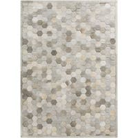 Hand-Crafted Cesar Geometric Hair On Hide Area Rug (5' x 8') - 5' x 8'