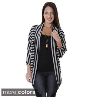 Hadari Women's Contemporary Casual Striped 3/4 Sleeve Cardigan